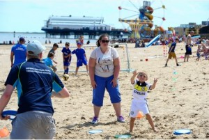 Giving sport a try on Cleethorpes beach